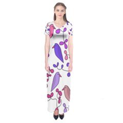 Flowers and birds pink Short Sleeve Maxi Dress