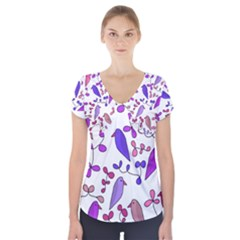 Flowers and birds pink Short Sleeve Front Detail Top