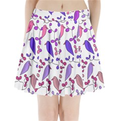 Flowers and birds pink Pleated Mini Skirt