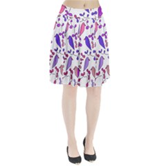 Flowers and birds pink Pleated Skirt