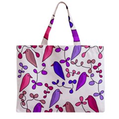 Flowers and birds pink Medium Zipper Tote Bag