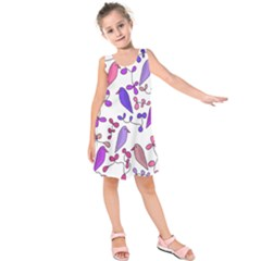 Flowers and birds pink Kids  Sleeveless Dress