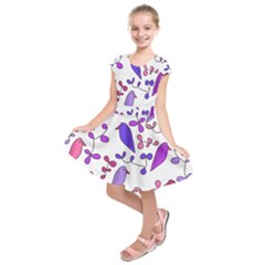Flowers and birds pink Kids  Short Sleeve Dress