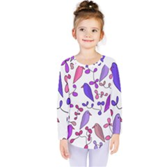 Flowers and birds pink Kids  Long Sleeve Tee