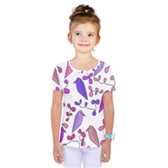 Flowers and birds pink Kids  One Piece Tee