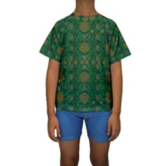 Magic Peacock Night Kids  Short Sleeve Swimwear