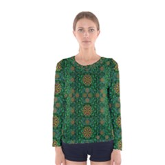 Magic Peacock Night Women s Long Sleeve Tee