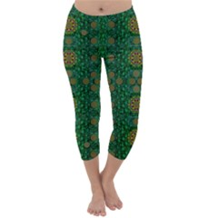 Magic Peacock Night Capri Winter Leggings