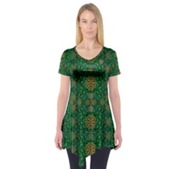 Magic Peacock Night Short Sleeve Tunic