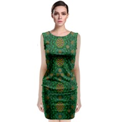 Magic Peacock Night Classic Sleeveless Midi Dress