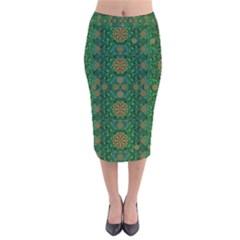 Magic Peacock Night Velvet Midi Pencil Skirt