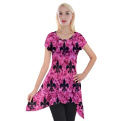 Royal1 Black Marble & Pink Marble Short Sleeve Side Drop Tunic