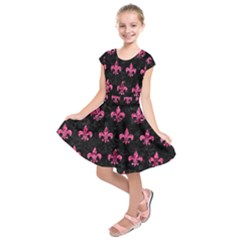 Royal1 Black Marble & Pink Marble (r) Kids  Short Sleeve Dress