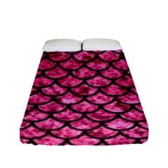 Scales1 Black Marble & Pink Marble (r) Fitted Sheet (full/ Double Size)
