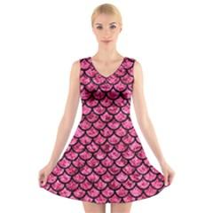 SCA1 BK-PK MARBLE (R) V-Neck Sleeveless Skater Dress
