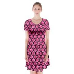 Scales1 Black Marble & Pink Marble (r) Short Sleeve V Neck Flare Dress