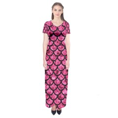 Scales1 Black Marble & Pink Marble (r) Short Sleeve Maxi Dress
