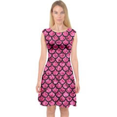 Scales1 Black Marble & Pink Marble (r) Capsleeve Midi Dress