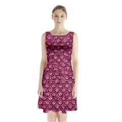 SCA2 BK-PK MARBLE (R) Sleeveless Chiffon Waist Tie Dress