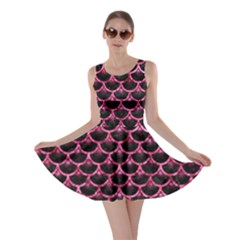 Scales3 Black Marble & Pink Marble Skater Dress