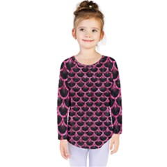 Scales3 Black Marble & Pink Marble Kids  Long Sleeve Tee