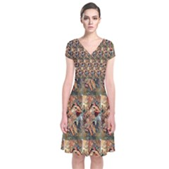 Autumn By Alfons Mucha 1896 Short Sleeve Front Wrap Dress