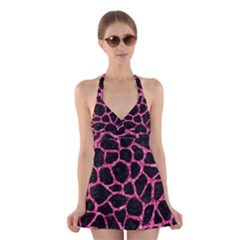 SKN1 BK-PK MARBLE (R) Halter Swimsuit Dress
