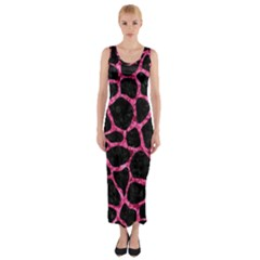 SKN1 BK-PK MARBLE (R) Fitted Maxi Dress