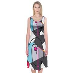 Abstract bird Midi Sleeveless Dress