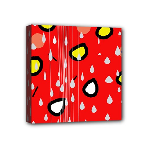 Rainy day - red Mini Canvas 4  x 4