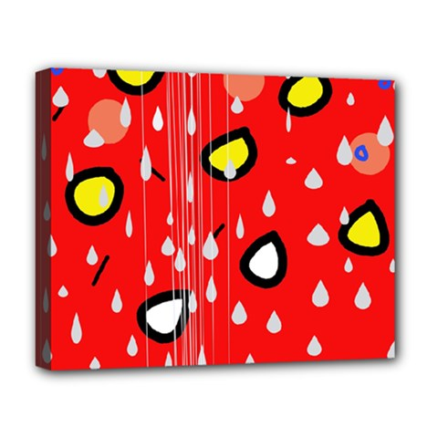 Rainy day - red Deluxe Canvas 20  x 16