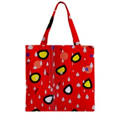 Rainy day - red Zipper Grocery Tote Bag