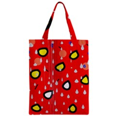 Rainy day - red Zipper Classic Tote Bag
