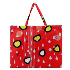 Rainy day - red Zipper Large Tote Bag