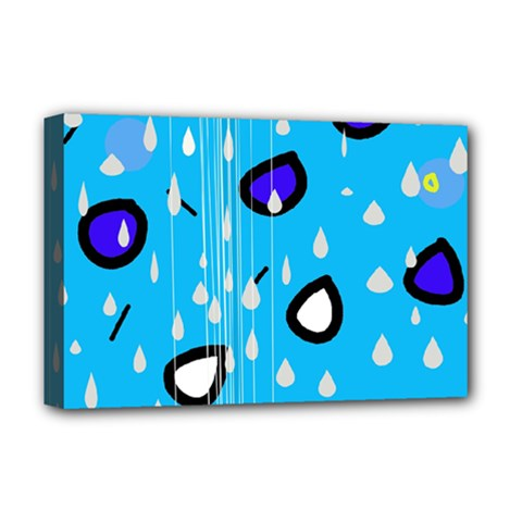 Rainy day - blue Deluxe Canvas 18  x 12