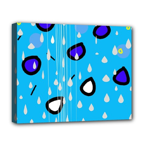 Rainy day - blue Deluxe Canvas 20  x 16
