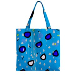 Rainy day - blue Zipper Grocery Tote Bag