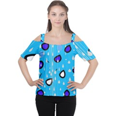 Rainy day - blue Women s Cutout Shoulder Tee