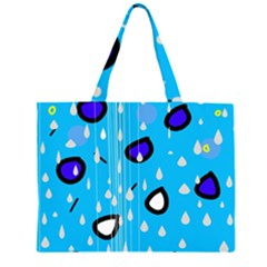 Rainy day - blue Large Tote Bag