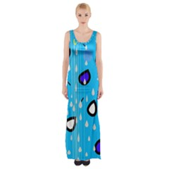Rainy day - blue Maxi Thigh Split Dress