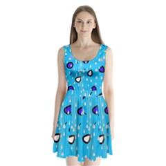Rainy day - blue Split Back Mini Dress