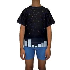 Night Kids  Short Sleeve Swimwear