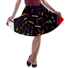 Color TV A-line Skater Skirt