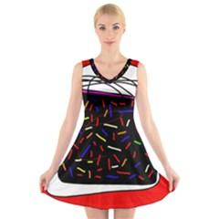 Color TV V-Neck Sleeveless Skater Dress
