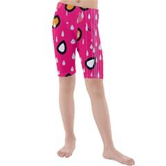 Rainy day - pink Kids  Mid Length Swim Shorts