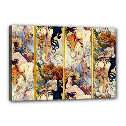 Alfons Mucha 1895 The Four Seasons Canvas 18  x 12