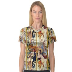 Alfons Mucha 1895 The Four Seasons Women s V-Neck Sport Mesh Tee