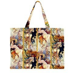 Alfons Mucha 1895 The Four Seasons Large Tote Bag