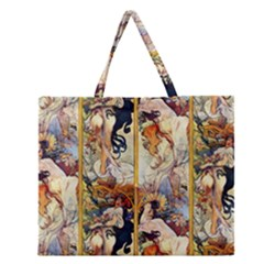 Alfons Mucha 1895 The Four Seasons Zipper Large Tote Bag