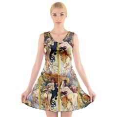 Alfons Mucha 1895 The Four Seasons V-Neck Sleeveless Skater Dress